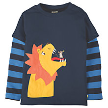 Buy Frugi Organic Boys' Lion Applique Long Sleeve T-Shirt, Navy Online at johnlewis.com