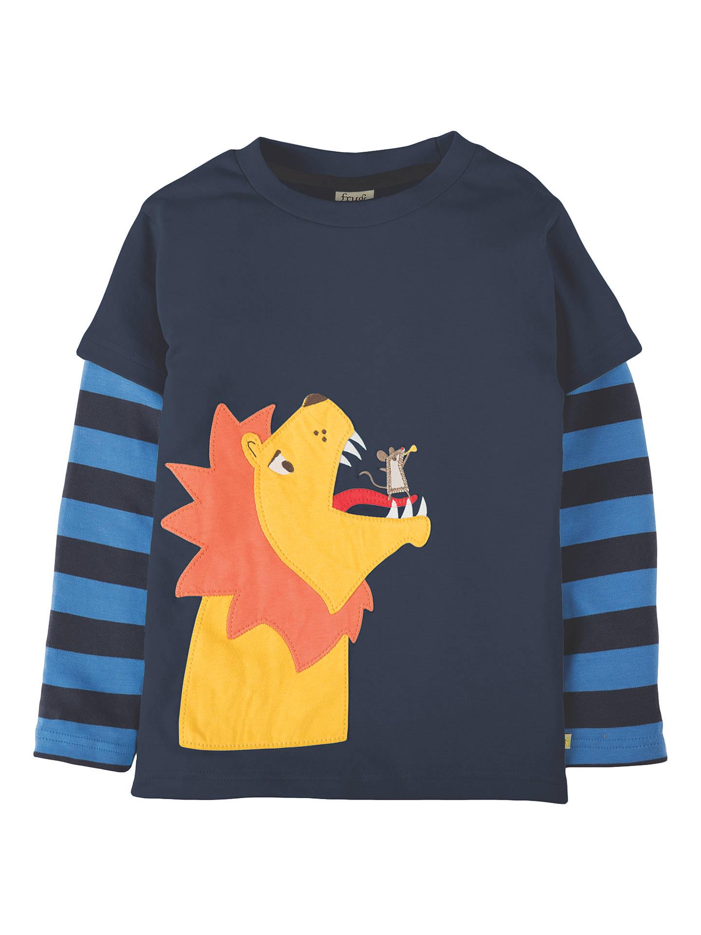 ce6c4798bf Frugi Organic Boys' Lion Applique Long Sleeve T-Shirt, Navy at John ...