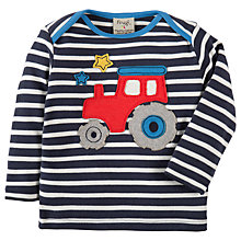 Buy Frugi Organic Baby Bobby Tractor Appliqué Top, Navy/White Online at johnlewis.com