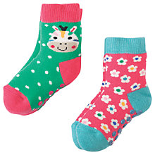 Buy Frugi Organic Baby Grippy Zebra Socks, Pack of 2, Pink/Multi Online at johnlewis.com