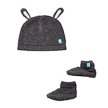 Buy John Lewis Baby Hat and Booties Set, Charcoal Online at johnlewis.com