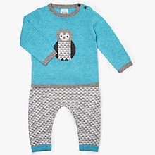 Buy John Lewis Baby Intarsia Owl Jumper & Legging Set, Teal Online at johnlewis.com