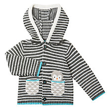 Buy John Lewis Baby Stripe Hooded Cardigan, Grey Online at johnlewis.com