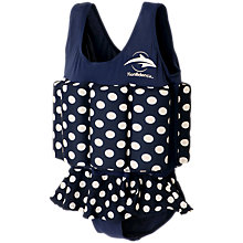 Buy Konfidence Girls' Polka Dot Swim Float Suit, Blue Online at johnlewis.com