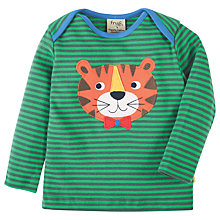 Buy Frugi Organic Baby Bobby Tiger Appliqué Top, Green/Blue Online at johnlewis.com