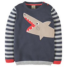 Buy Frugi Boys' Elwood Shark Knit Jumper, Blue/Grey Online at johnlewis.com