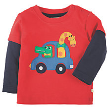 Buy Frugi Organic Baby Little Lout Giraffe Appliqué Top, Red/Navy Online at johnlewis.com