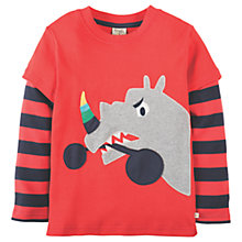Buy Frugi Organic Boys' Rhino Applique Long Sleeve T-Shirt, Red Online at johnlewis.com