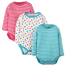 Buy Frugi Organic Baby Luxe Pointelle Bodysuit, Pack of 3, Blue Online at johnlewis.com