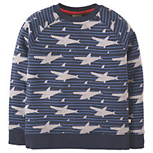 Buy Frugi Organic Boys' Rex Shark Jumper, Blue/Grey Online at johnlewis.com