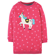 Buy Frugi Organic Girls' Eloise Jersey Unicorn Dress, Pink Online at johnlewis.com