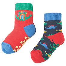 Buy Frugi Organic Baby Grippy Dino Socks, Pack of 2, Navy/Red Online at johnlewis.com