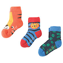 Buy Frugi Organic Baby Little Tiger Socks, Pack of 3, Blue/Orange Online at johnlewis.com