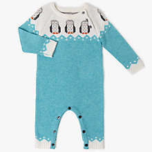 Buy John Lewis Baby Owl Intarsia Long Sleeve Sleepsuit, Teal Online at johnlewis.com