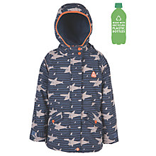Buy Frugi Organic Children's Waterproof Shark Jacket, Blue/Grey Online at johnlewis.com