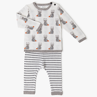 Product photo of John lewis baby intarsia bunny jumper  legging set cream