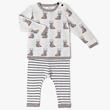 Buy John Lewis Baby Intarsia Bunny Jumper & Legging Set, Cream Online at johnlewis.com