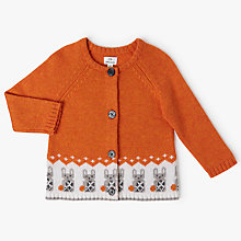 Buy John Lewis Baby Bunny Intarsia Cardigan, Orange Online at johnlewis.com