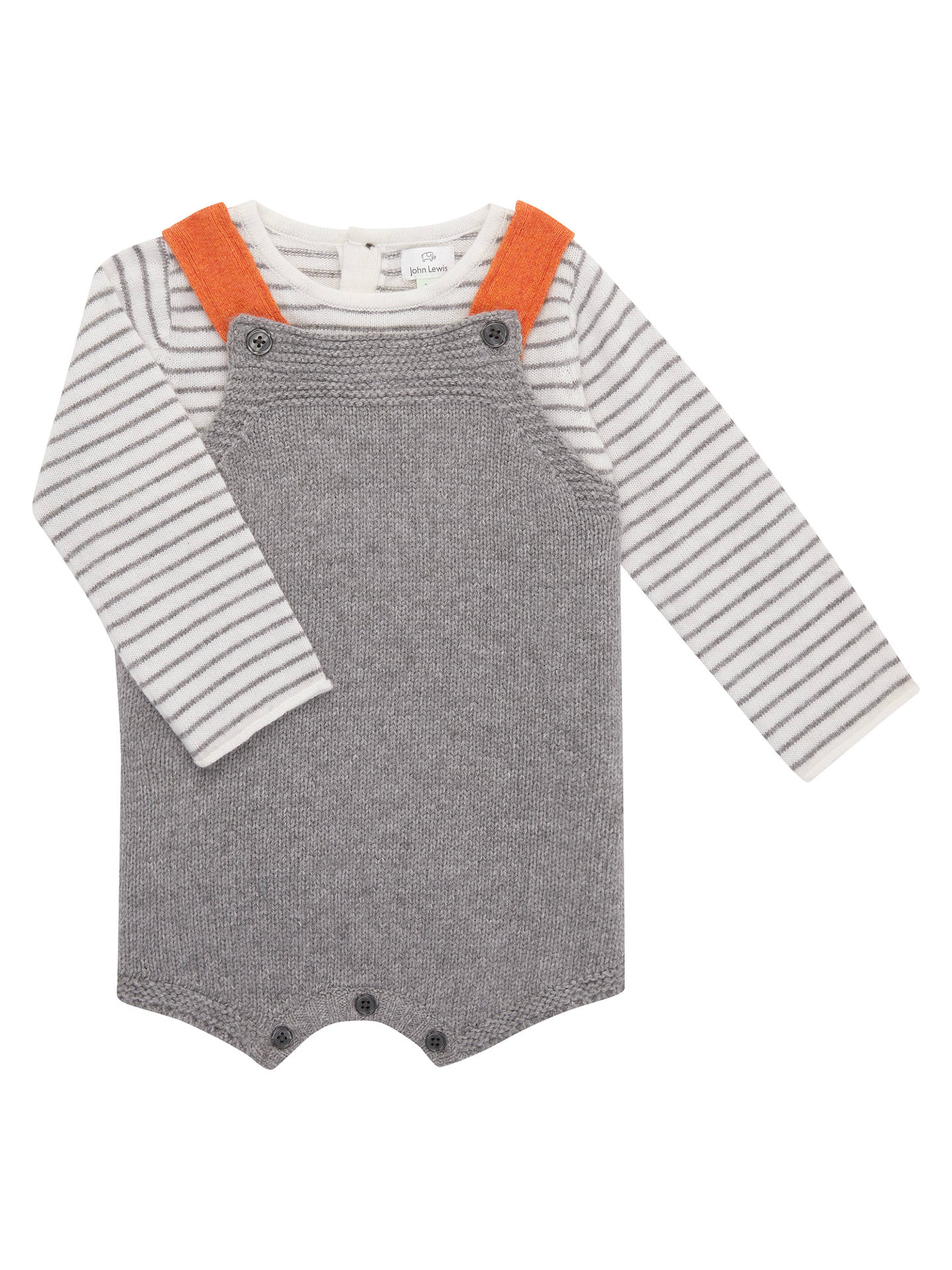 BuyJohn Lewis Baby Knit Romper with Top, Grey, Newborn Online at johnlewis.com