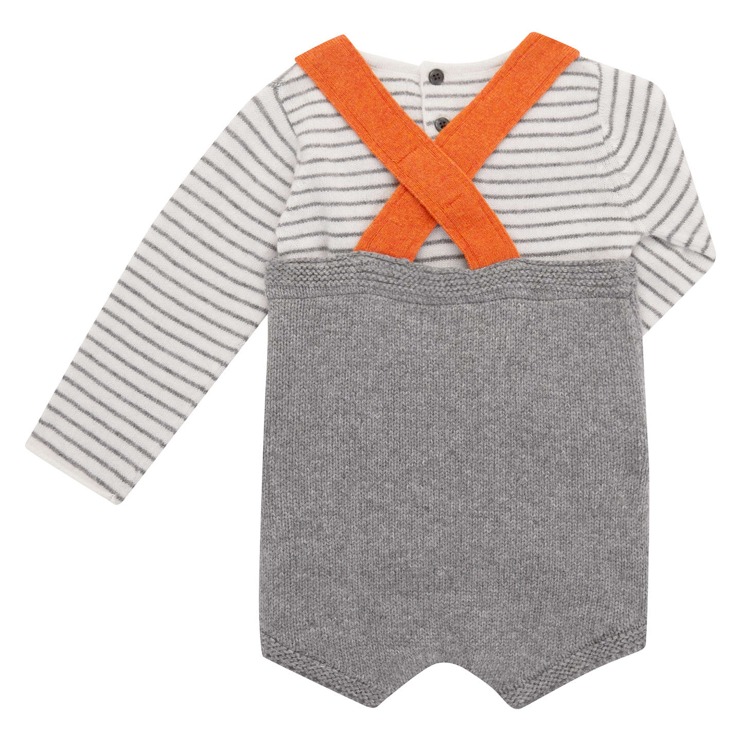 BuyJohn Lewis Baby Knit Romper with Top, Grey, 3-6 months Online at johnlewis.com