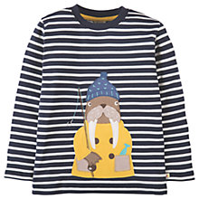 Buy Frugi Organic Children's Discovery Walrus Appliqué Top, Navy/White Online at johnlewis.com