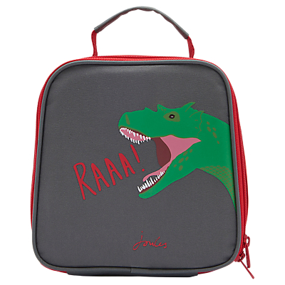 Little Joule Children's Dinosuar Print Munch Lunch Box Bag, Grey/Red