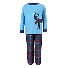 Buy John Lewis Children's Christmas Reindeer Woven Pyjamas, Blue Online at johnlewis.com