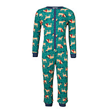 Buy John Lewis Children's All-Over Reindeer Print Onesie, Green Online at johnlewis.com