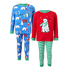 Buy John Lewis Children's Polar Bear Pyjamas, Pack of 2, Blue/Multi Online at johnlewis.com