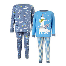 Buy John Lewis Children's Winter Animals Pyjamas, Pack of 2, Blue/Multi Online at johnlewis.com