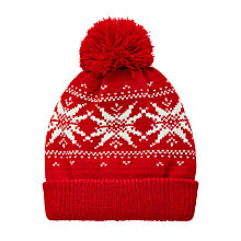 Buy John Lewis Children's Fair Isle Beanie Hat, Red Online at johnlewis.com
