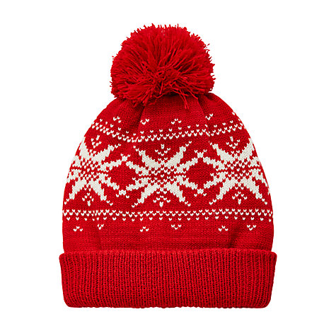 Buy John Lewis Children's Fair Isle Beanie Hat, Red | John Lewis