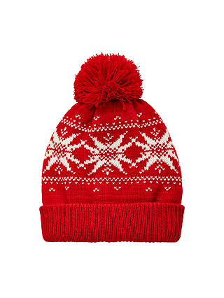 Buy John Lewis Children's Fair Isle Beanie Hat, Red, 3-5 years Online at johnlewis.com