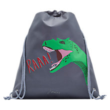Buy Little Joule Children's Glow In The Dark Dinosaur Draw String Bag, Grey Online at johnlewis.com