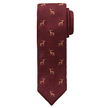 Buy John Lewis Boys' Stag Knitted Tie, Burgundy Online at johnlewis.com