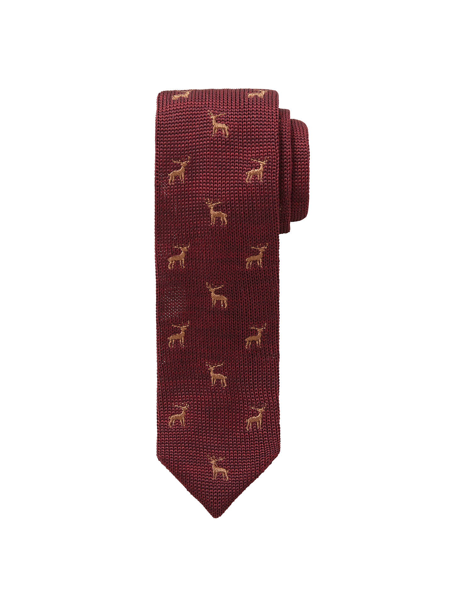 66703e24613e Buy John Lewis Heirloom Collection Boys' Stag Knitted Tie, Burgundy, S/M ...