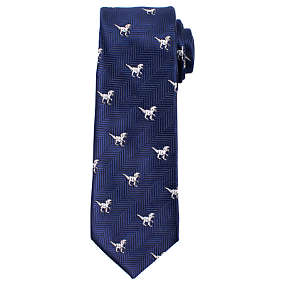 John Lewis Heirloom Collection Boys' T-Rex Tie, Navy