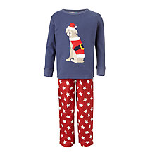 Buy John Lewis Children's Christmas Dog Pyjamas, Blue/Red Online at johnlewis.com