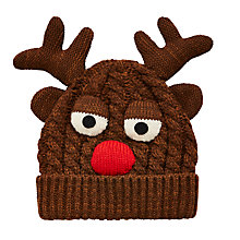 Buy John Lewis Children's Reindeer Beanie Hat, Brown Online at johnlewis.com