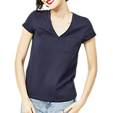Buy Warehouse V-Neck Slub T-Shirt, Navy Online at johnlewis.com