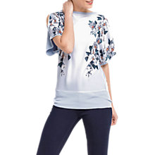 Buy Oasis Floral Cold Shoulder Kimono Side Tie Top, Light Blue Online at johnlewis.com