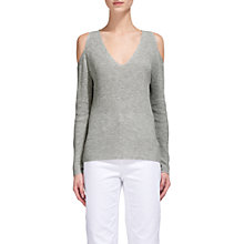 Buy Whistles V Neck Cold Shoulder Jumper, Grey Marl Online at johnlewis.com
