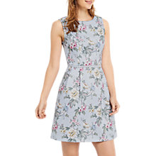 Buy Oasis Laundered Floral Texture Skater Dress, Light Blue Online at johnlewis.com