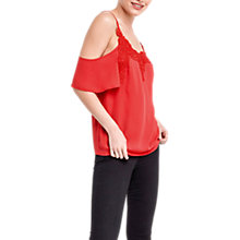 Buy Oasis Lace Trim Cold Shoulder Top, Mid Red Online at johnlewis.com
