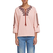 Buy Whistles Embroidered Open Neck Sweat, Pale Pink Online at johnlewis.com