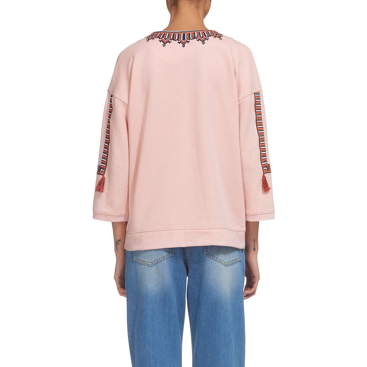 BuyWhistles Embroidered Open Neck Sweat, Pale Pink, XS Online at johnlewis.com