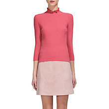 Buy Whistles Frill Neck Textured Jumper, Pink Online at johnlewis.com