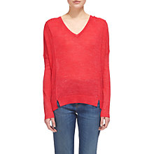 Buy Whistles Crew Neck Relaxed Knit Jumper, Raspberry Online at johnlewis.com