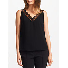 Buy Samsoe & Samsoe Bea Lace Trim Top, Black Online at johnlewis.com