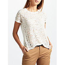 Buy Maison Scotch Burnout T-Shirt, Off White Online at johnlewis.com